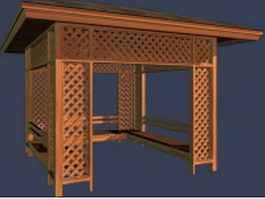 Trellis wooden gazebo 3d preview