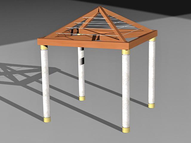 Wooden backyard gazebo 3d rendering
