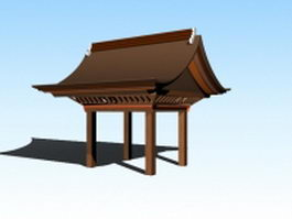 Japanese gazebo design 3d preview