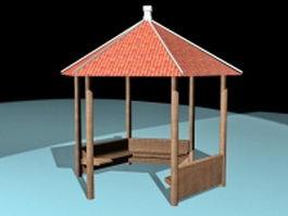 Village gazebo 3d model preview