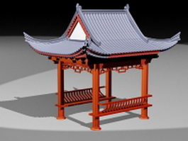 Square Chinese pavilion 3d preview