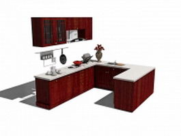 Red & white kitchen cabinets 3d model preview