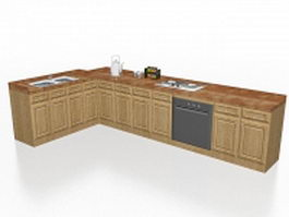 Apartment kitchen cabinets 3d model preview