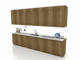 Straight line kitchen cabinets 3d model preview
