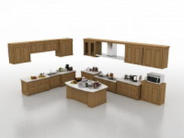 L-shaped kitchen with island 3d model preview