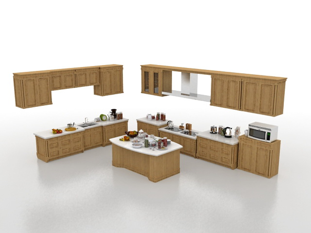 L-shaped kitchen with island 3d model 3ds Max files free ... on Modern:8-Rtxafges8= Model Kitchen  id=73803