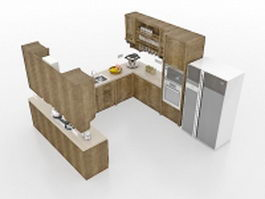 Small U-shaped kitchens 3d preview