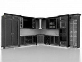 Black kitchen cabinet designs 3d preview