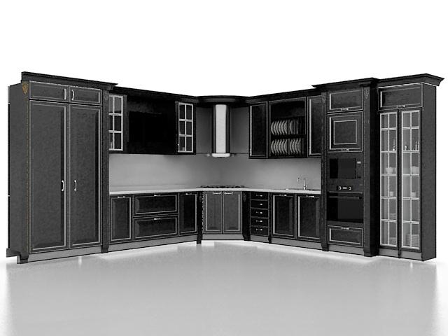 Black kitchen cabinet designs 3d rendering