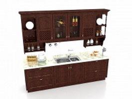 Vintage kitchen cabinets 3d preview