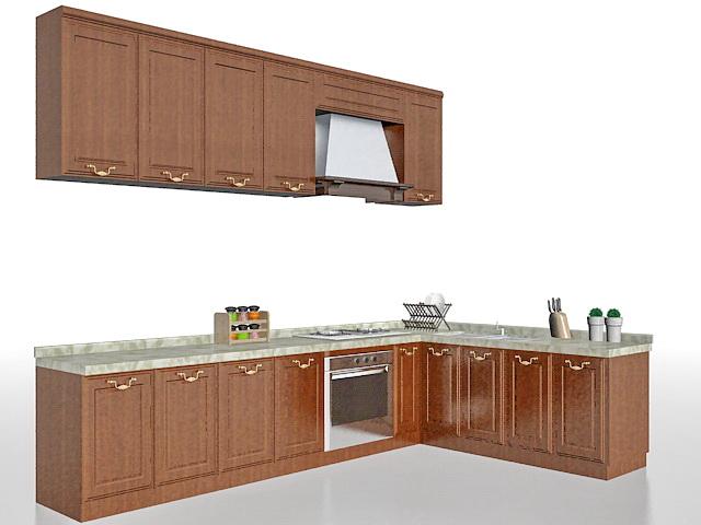 L-shaped kitchen design cabinet 3d rendering