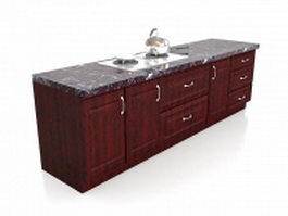 Red wood kitchen cabinets granite worktop 3d preview