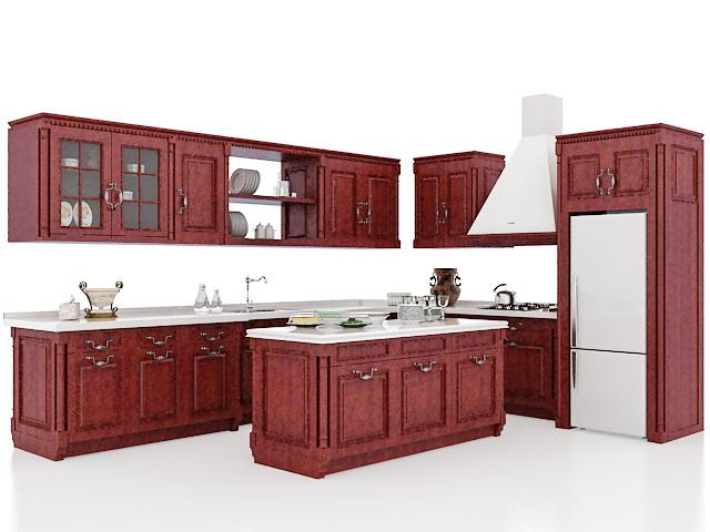 Vintage rustic kitchen cabinets design 3d rendering