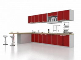 Red kitchen cabinet with breakfast bar 3d preview