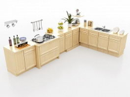 L-shaped kitchen floor cabinets 3d preview