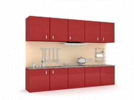 Retro kitchen cabinets 3d preview