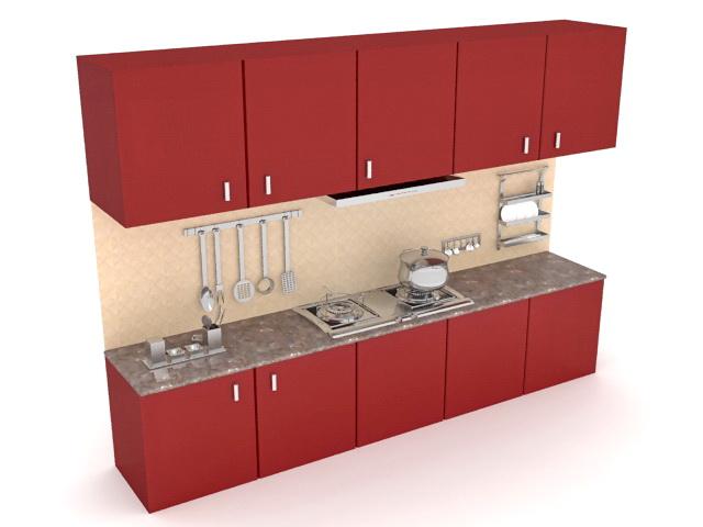 Retro kitchen cabinets 3d model 3ds Max files free ...
