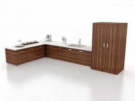 L kitchen with tall storage unit 3d model preview