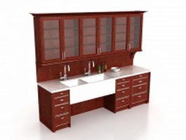 Vintage kitchen cabinets wall storage unit 3d preview