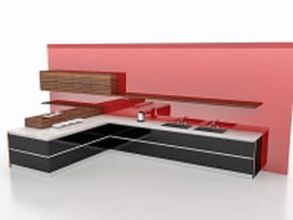 Black kitchen cabinets with red wall 3d model preview