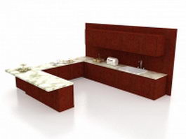 Red U kitchen cabinets design 3d preview