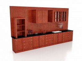 Antique red kitchen cabinets 3d preview