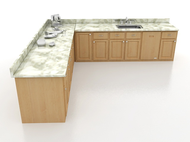 Kitchen floor cabinets 3d rendering