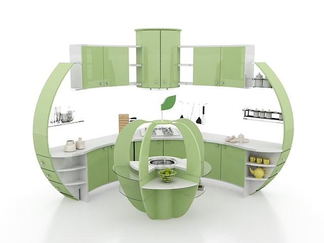 Modern corner kitchen cabinet ideas 3d rendering