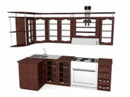 Small country kitchen design 3d preview