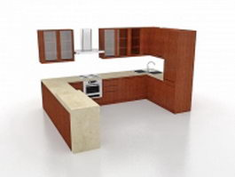 U-shaped kitchen design 3d preview