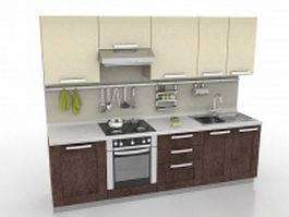 Small apartment kitchen 3d preview