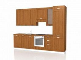 Corridor kitchen design 3d preview