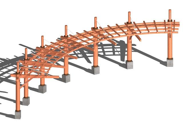 Curved wood pergola 3d rendering