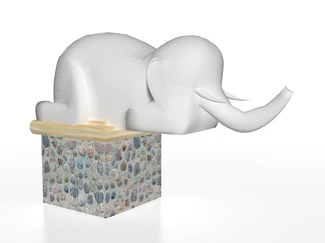 Elephant garden statue 3d rendering