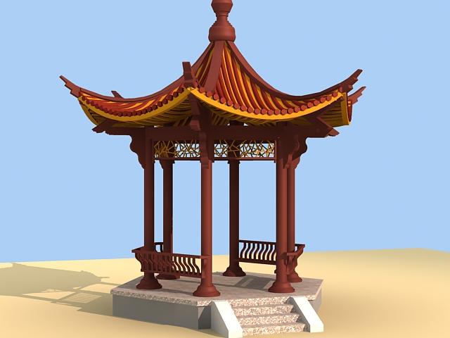 Garden Chinese pavilion 3d rendering