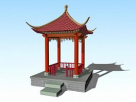 Traditional Chinese pavilion 3d preview