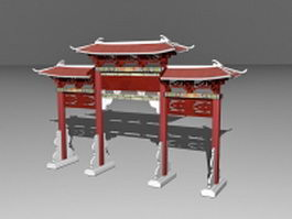 Chinese paifang memorial archway gate 3d preview