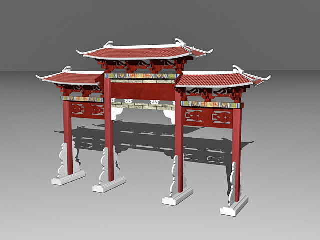 Chinese paifang memorial archway gate 3d rendering