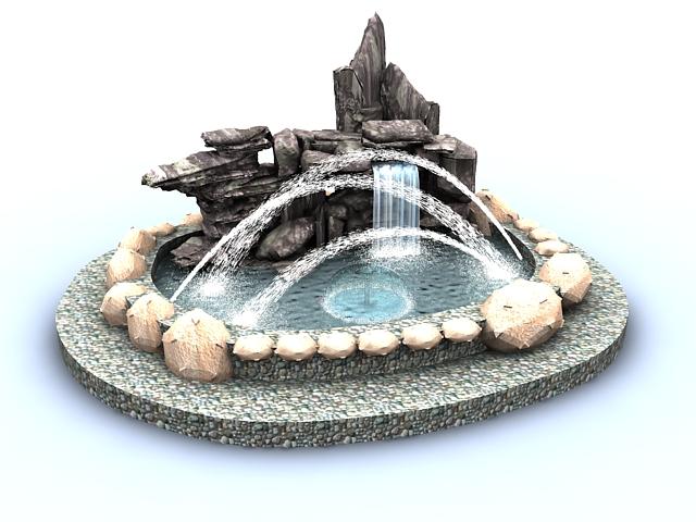Rockery fountain pond 3d rendering