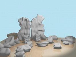 Rock garden landscape 3d preview