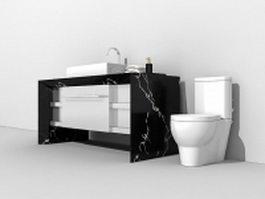 Bathroom vanity and toilet 3d model preview