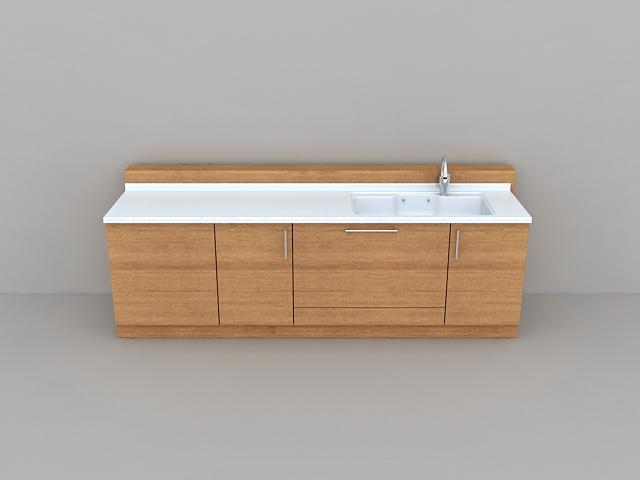 Long bathroom vanity with one sink 3d rendering