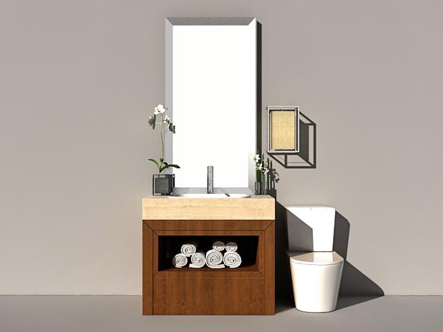 Small bathroom toilet vanity 3d rendering