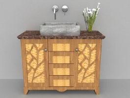 Rustic bathroom vanity cabinet 3d model preview