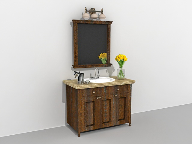 Vintage bathroom vanity with wall mirror 3d model 3ds Max ...
