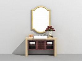Single bathroom vanity with vessel sink 3d preview