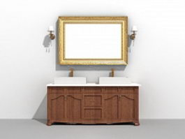 Double sink bathroom vanity with mirror and light fixtures 3d model preview