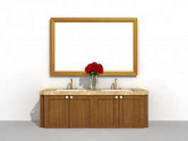 Double sink bathroom vanity with under-mount sink basin 3d preview