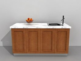 Kitchen island with sink 3d preview