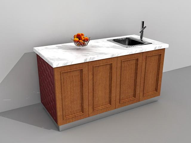 Kitchen island with sink 3d rendering
